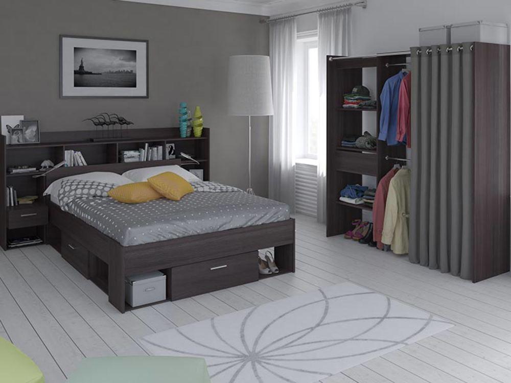 environnement de lit liseuse led chicago chene vulcano. Black Bedroom Furniture Sets. Home Design Ideas