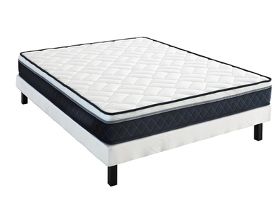matelas sommier tapissier ensemble alicante strech blanc l 140 x h 35 x p 190. Black Bedroom Furniture Sets. Home Design Ideas