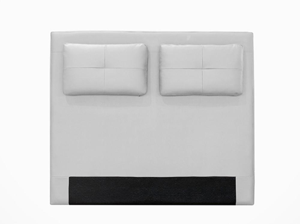 Tete de lit avec coussin mirko blanc 17 l 140 x h 100 for Suspension chambre enfant avec matelas mousse ou memoire de forme