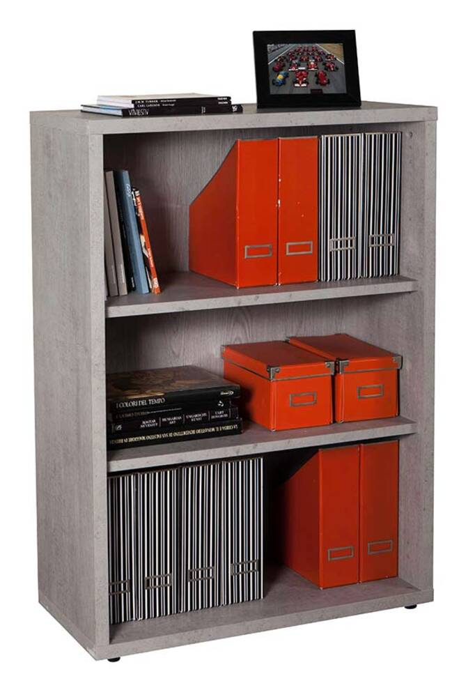 bibliotheque basse ufficio blanc gris beton structure. Black Bedroom Furniture Sets. Home Design Ideas
