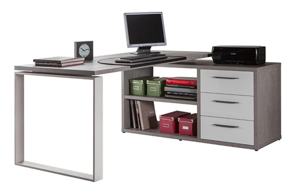 Bureau d 39 angle reversible disegno beton structure blanc laque for Meuble bureau angle