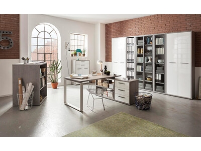 bureau d 39 angle reversible disegno beton structure blanc laque. Black Bedroom Furniture Sets. Home Design Ideas