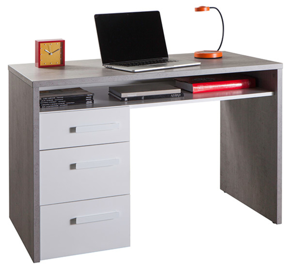Bureau mipiace beton structure blanc brillant for Meuble bureau 76
