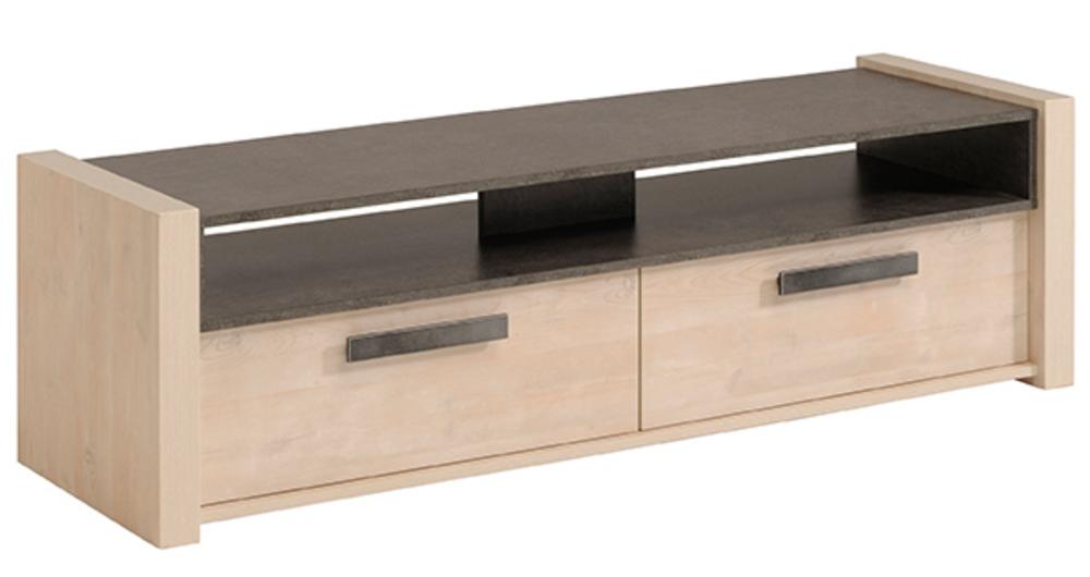 Meuble tv wild pin cendr b ton fonc for Basika meuble tv