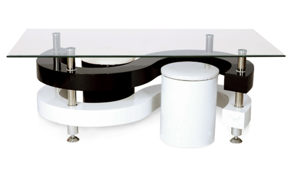 Table basse isis blanc noir for Table basse blanc et noir