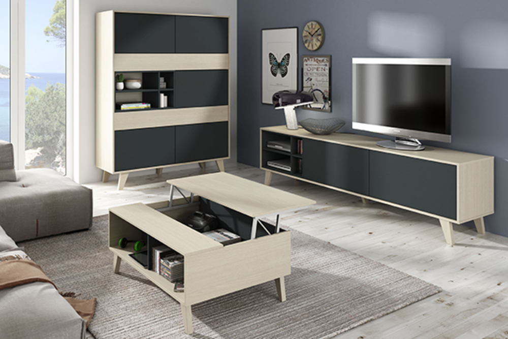 meuble tv zaiken gris anthracite chene