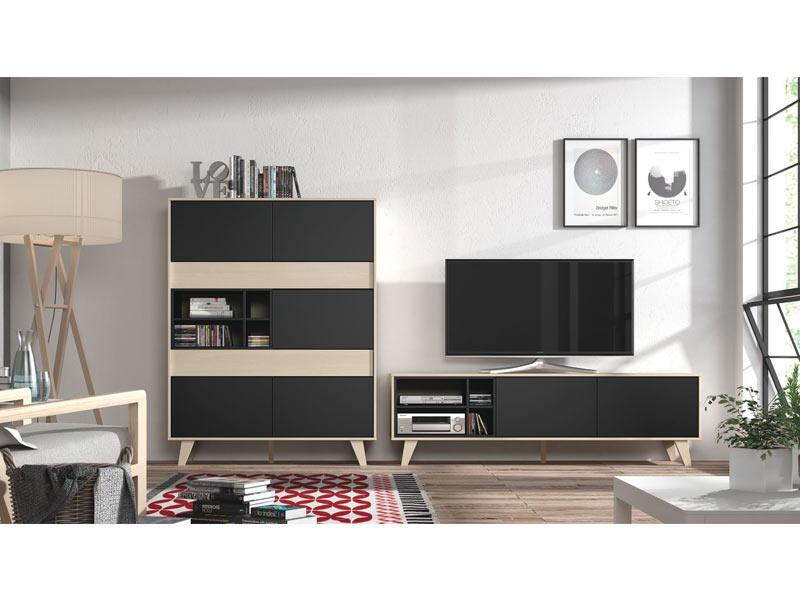 meuble tv domino gris anthracite chene. Black Bedroom Furniture Sets. Home Design Ideas