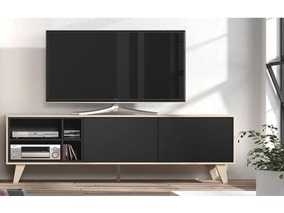 meuble tv zaiken gris anthracite chene. Black Bedroom Furniture Sets. Home Design Ideas