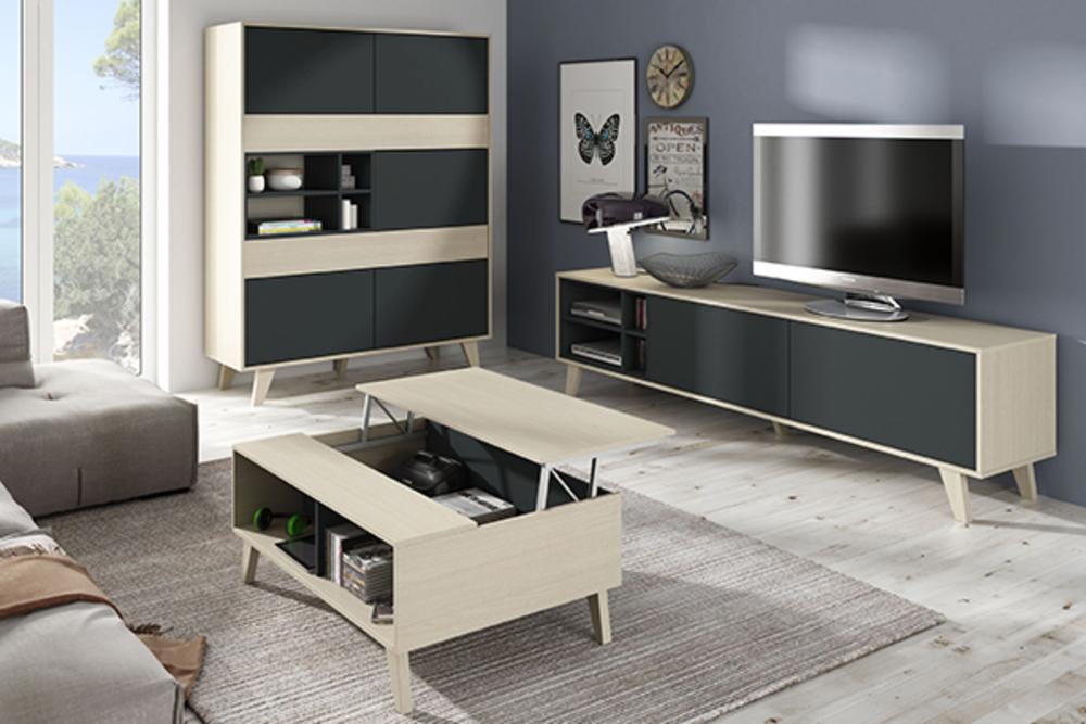 table basse relevable domino chene. Black Bedroom Furniture Sets. Home Design Ideas