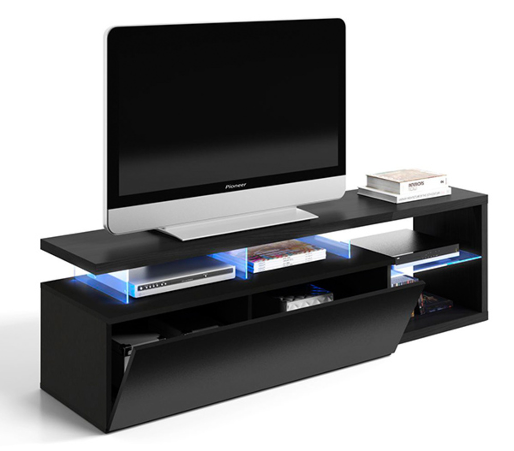 Meuble tv blue tech noir brillant for Basika meuble tv