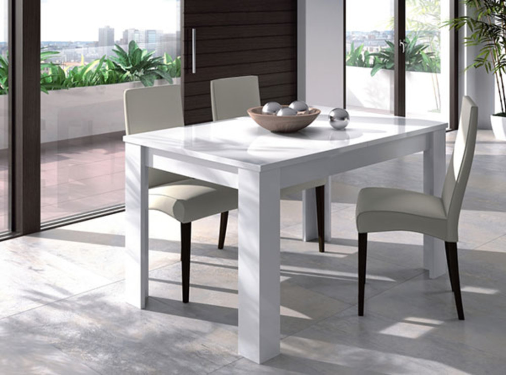 Table de repas kend blanc brillant l 140 x h 78 x p 90 for Table cuisine 140 x 90