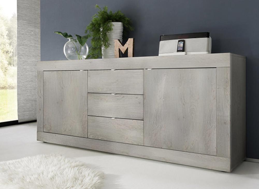 bahut 2 portes 3 tiroirs basic gris. Black Bedroom Furniture Sets. Home Design Ideas