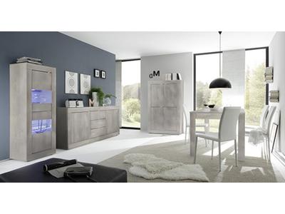 Bahut 2 portes 3 tiroirs Basic pin blanchi