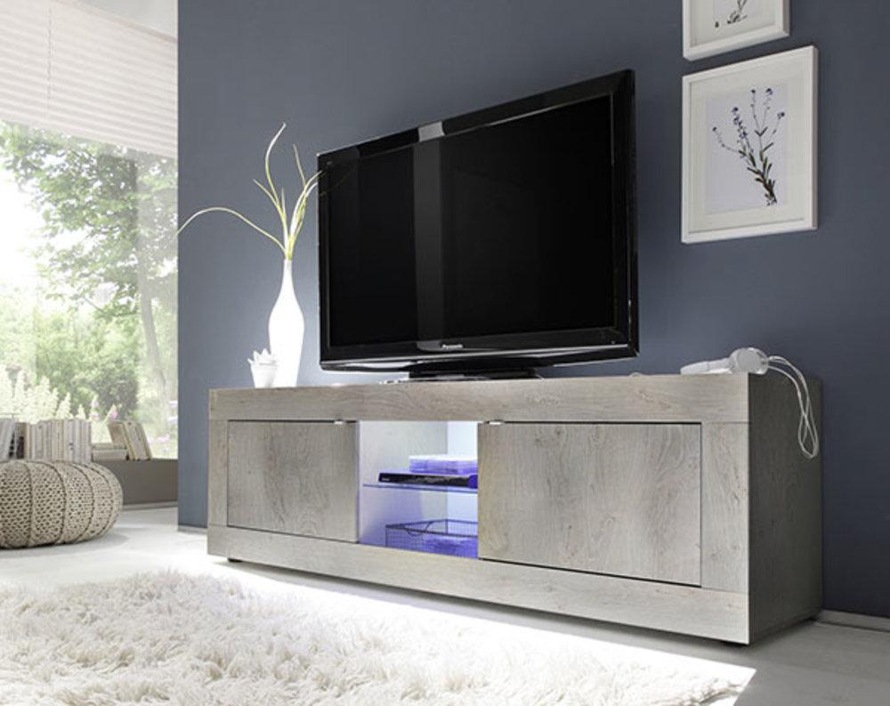Meuble Tv Gm Basic Costa Pin Blanchi # Meuble Tv Grand Ecran