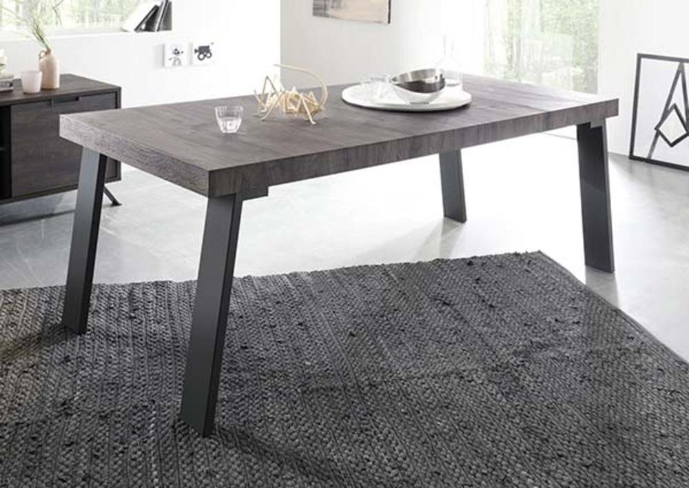 table de repas avec pi tement m tal palma goa wengu. Black Bedroom Furniture Sets. Home Design Ideas