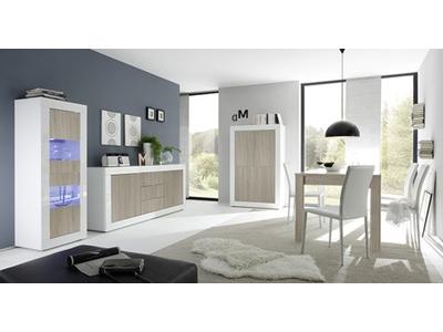 Bahut 2 portes 3 tiroirs Basic pin/blanc brillant
