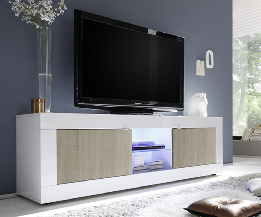 meuble tv gm basic pin blanc brillant. Black Bedroom Furniture Sets. Home Design Ideas