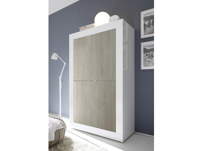 Vitrine 4 portes Basic pin/blanc brillant