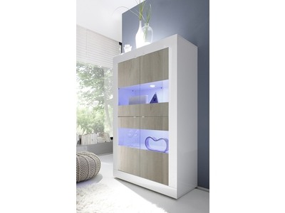 Vitrine 4 portes vitrees Basic pin/blanc brillant