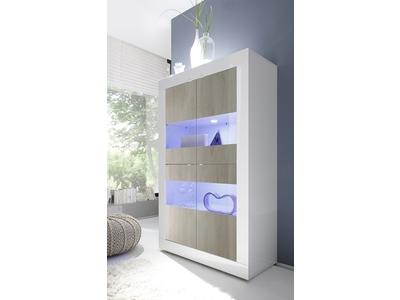 Vitrine 4 portes vitréés Basic pin/blanc brillant