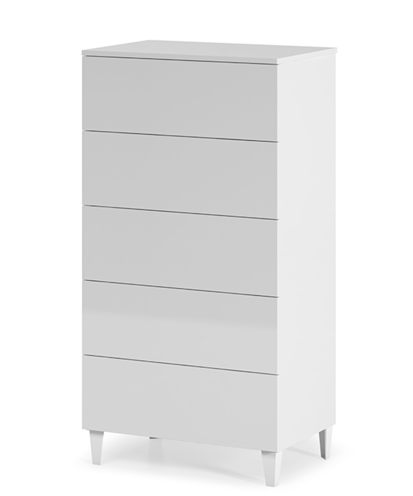 chiffonnier 5 tiroirs loft blanc brillant. Black Bedroom Furniture Sets. Home Design Ideas