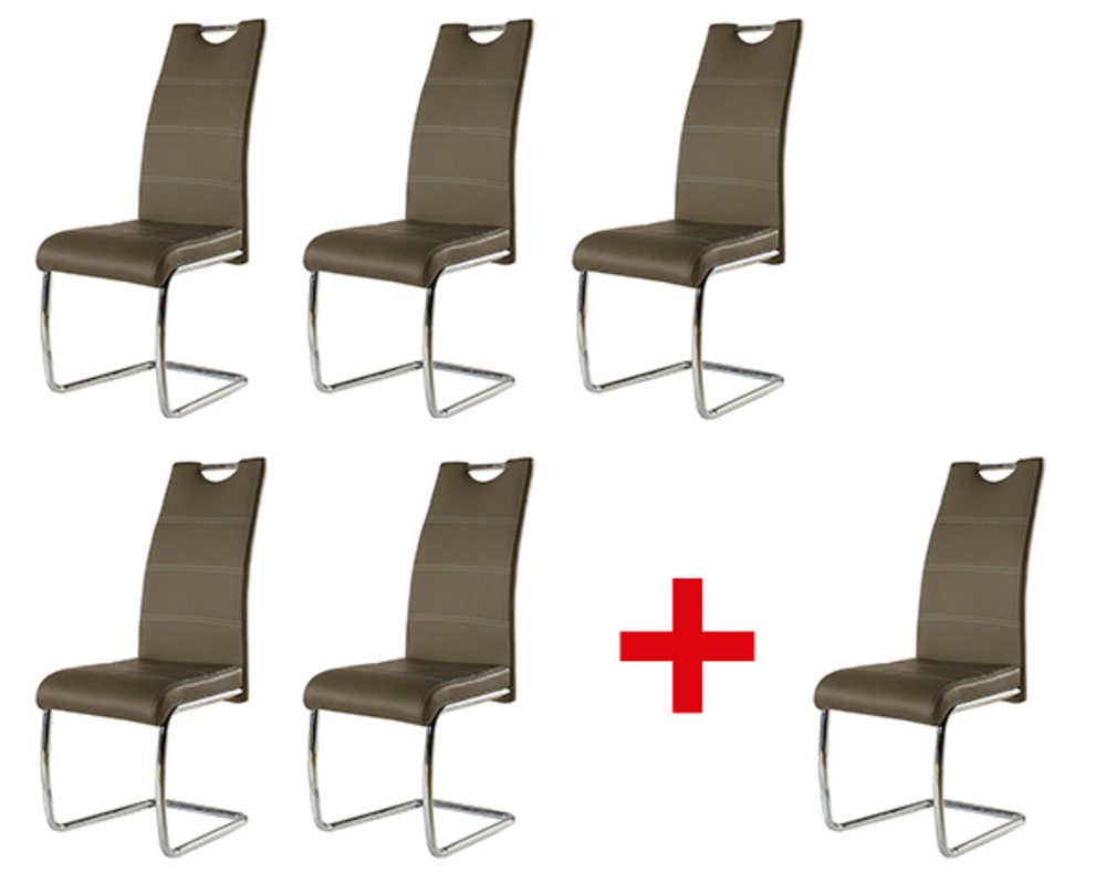 Lot de 5 chaises 1 offerte flora gris anthracite for Chaise salle a manger gris anthracite