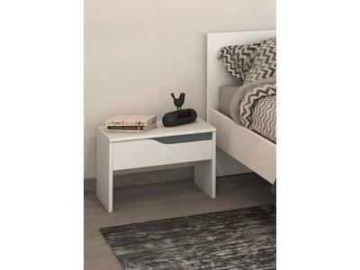 Chevet Paz blanc/gris anthracite