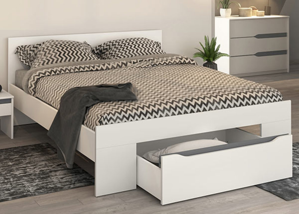 lit paz blanc gris anthracitel 166 x h 74 x p 204. Black Bedroom Furniture Sets. Home Design Ideas