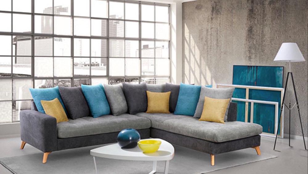 canape d 39 angle droite morea gris fonce gris clair bleu jaune. Black Bedroom Furniture Sets. Home Design Ideas