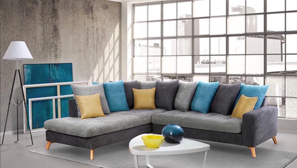 canape d 39 angle gauche morea gris fonce gris clair bleu jaune. Black Bedroom Furniture Sets. Home Design Ideas
