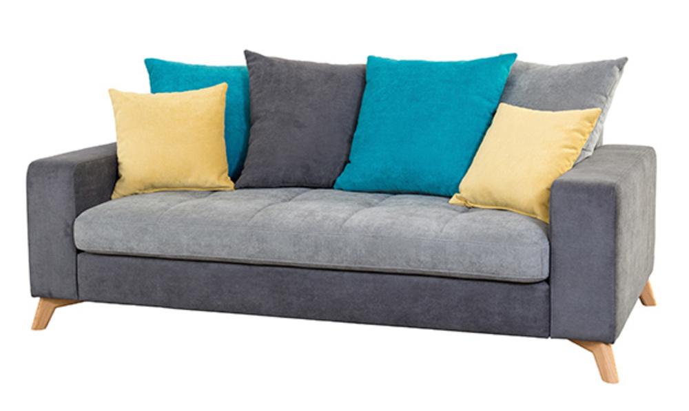 Canape 3 places Morea Gris fonce/gris clair/bleu/jaune