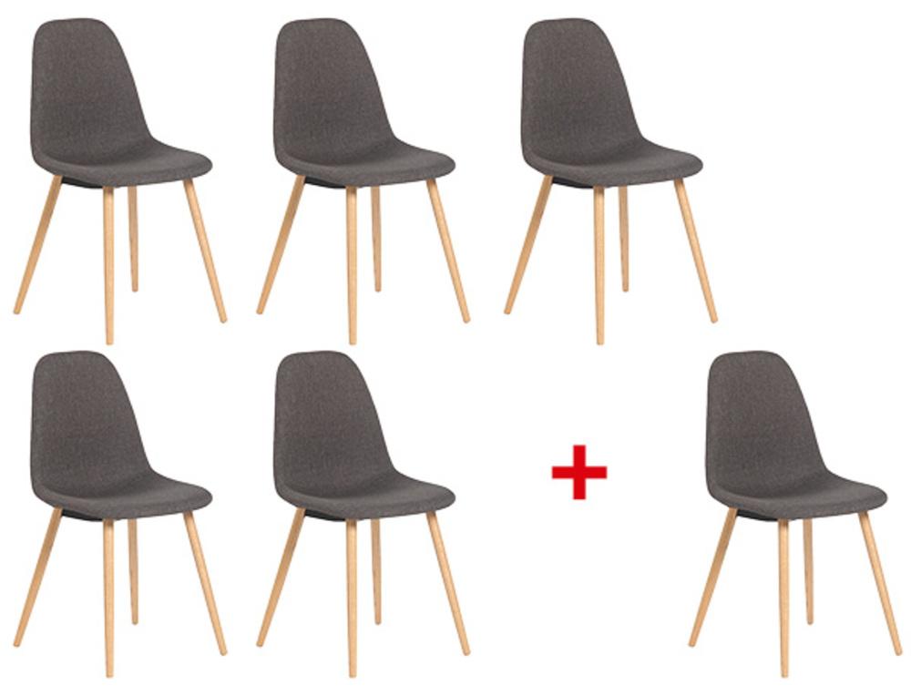 lot de 5 chaises 1 offerte kapri gris chene. Black Bedroom Furniture Sets. Home Design Ideas