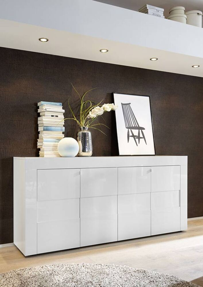 Bahut 4 portes easy cortina blanc brillant for Buffet sejour blanc