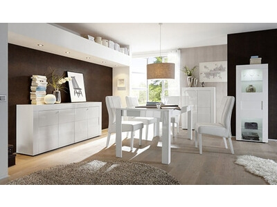 Bahut 4 portes Cortina blanc brillant