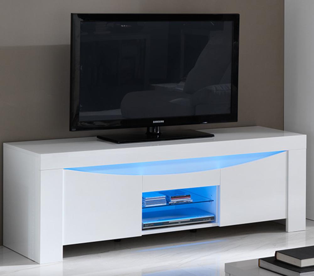Meuble tv onda laqu e blanc brillantl 160 x h 55 x p 53 for Meuble tv 160