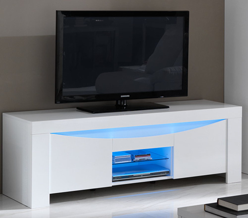 meuble tv onde laqu e blanc brillant. Black Bedroom Furniture Sets. Home Design Ideas