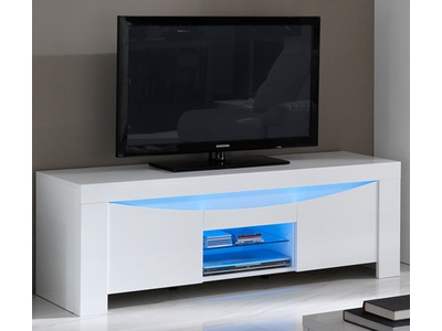 meuble tv onda laqu e blanc brillant. Black Bedroom Furniture Sets. Home Design Ideas