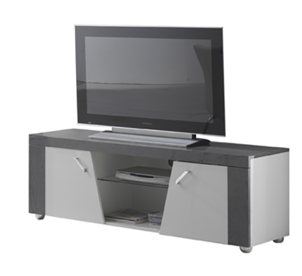 Meuble tv ascot gris blanc for Basika meuble tv