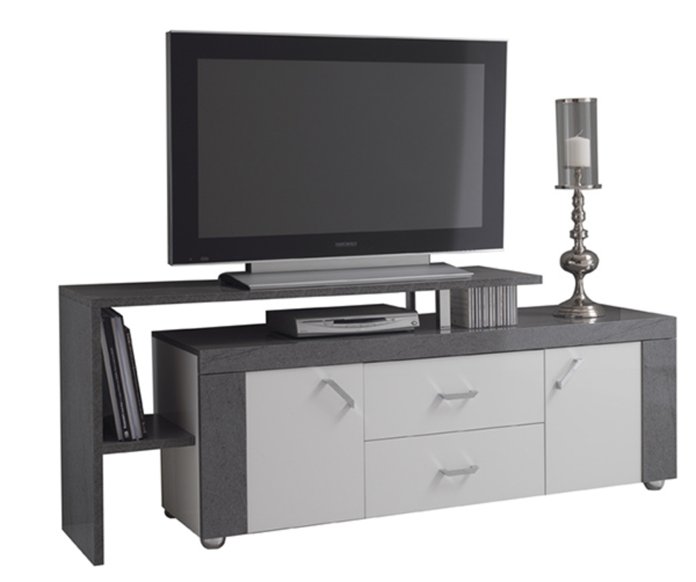 Meuble tv plateau tv ascot gris blanc for Basika meuble tv