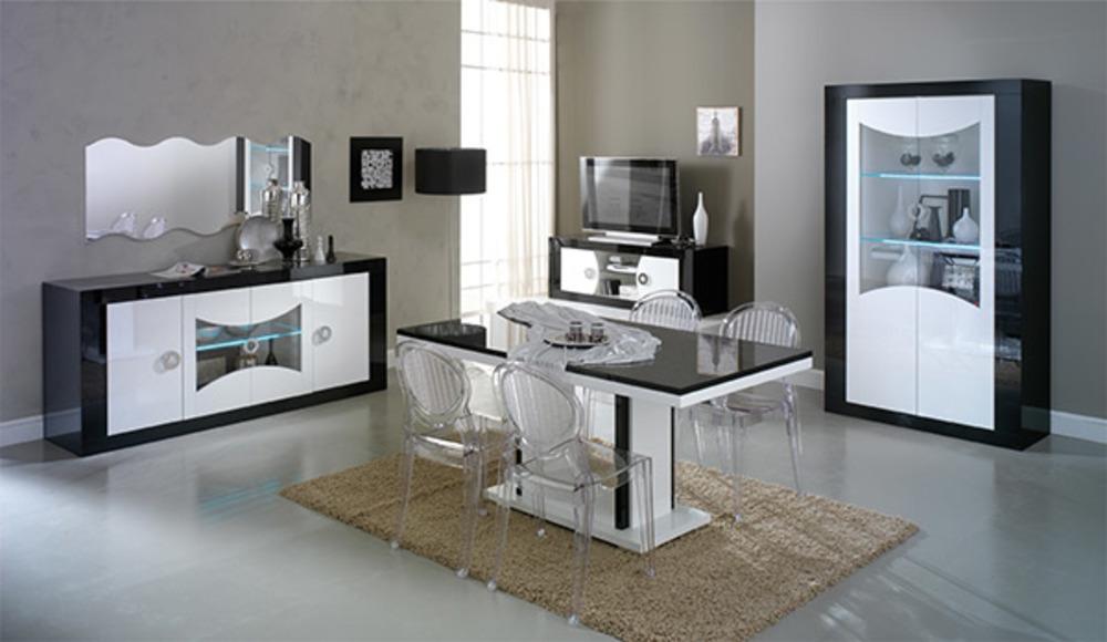Vitrine 2 portes avec leds retro noir blanc for Sejour complet moderne