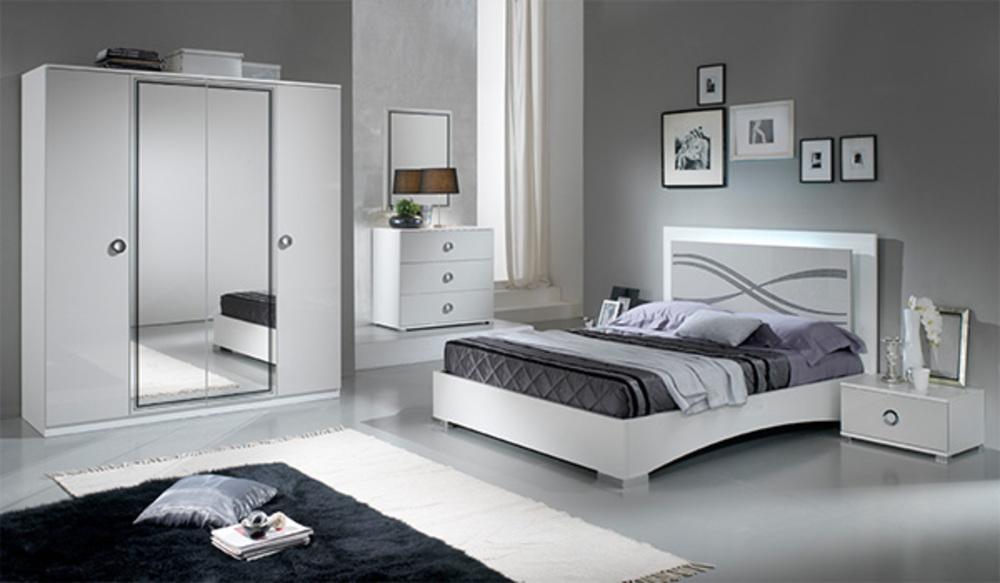 Commode 3 tiroirs Karen laqué gris clair brillant Blanc/gris clair