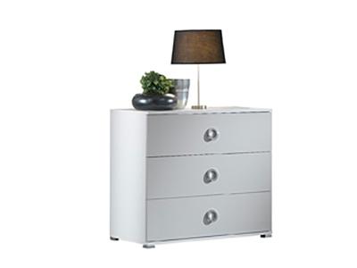 Commode 3 tiroirs Karen laqué gris clair brillant