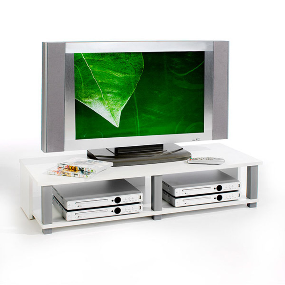 Meuble tv gero blanc gris for Meuble tv blanc gris