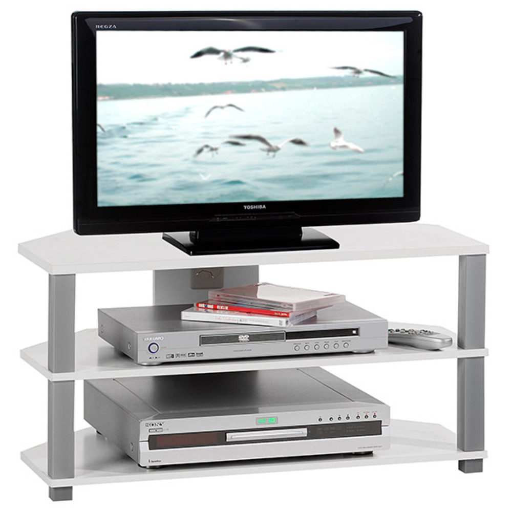 Meuble Tv Jack Blanc Artzein Com # Meuble Tv Hifi Ovale Blanc
