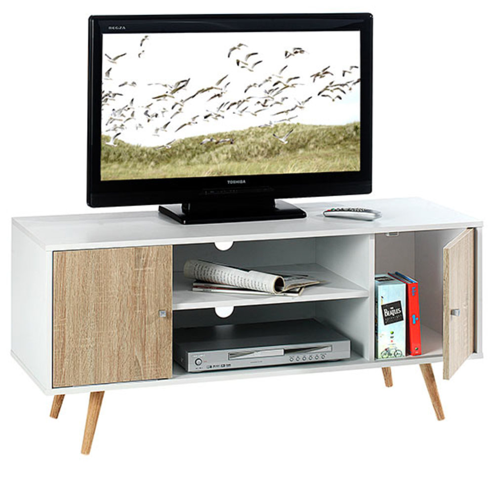 Meuble tv murcia blanc chene sonoma - Television pas cher but ...