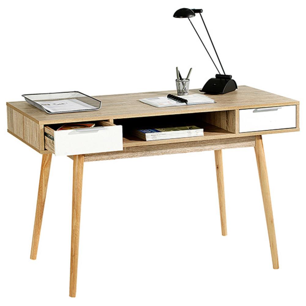 bureau newport chene sonoma blanc brillant. Black Bedroom Furniture Sets. Home Design Ideas