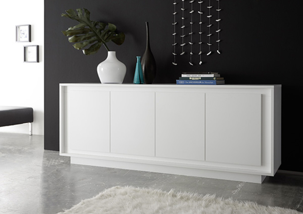 bahut 4 portes sky blanc mat. Black Bedroom Furniture Sets. Home Design Ideas