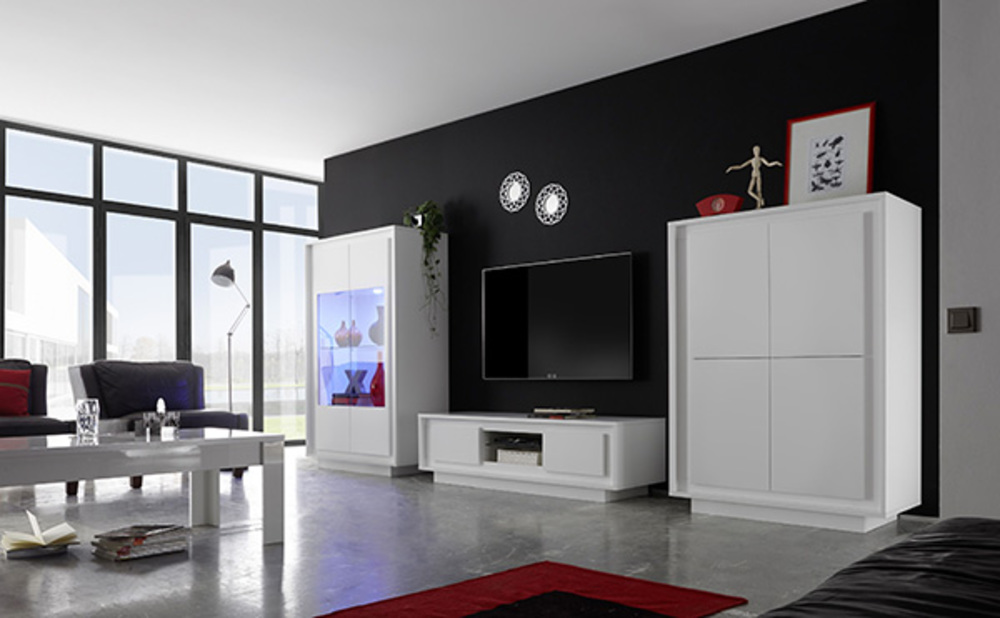 meuble tv sky blanc mat. Black Bedroom Furniture Sets. Home Design Ideas