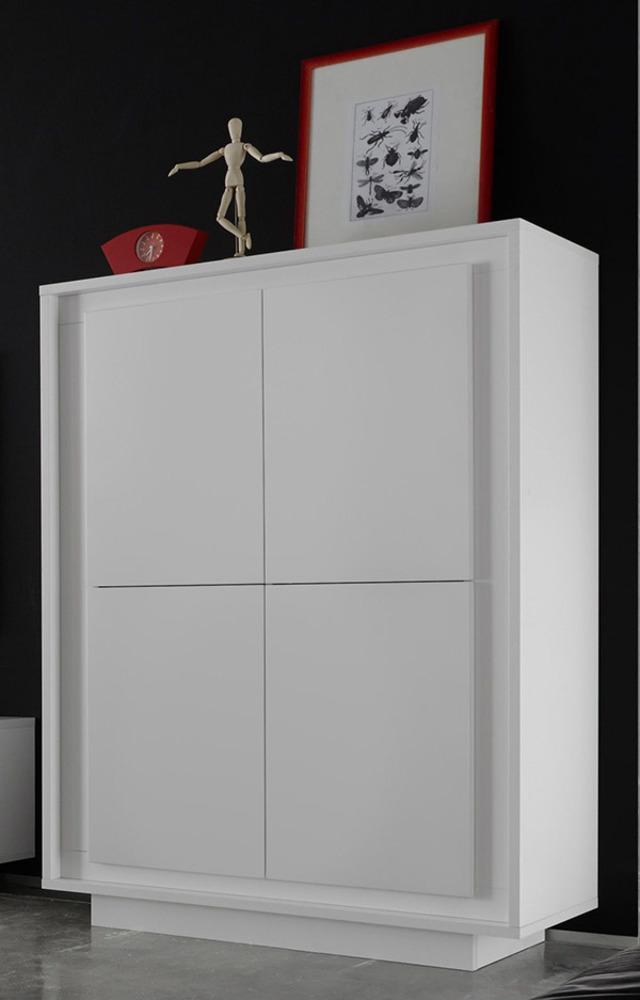 Meuble de rangement 4 portes sky prato blanc mat - Vitrine salle de bain ...