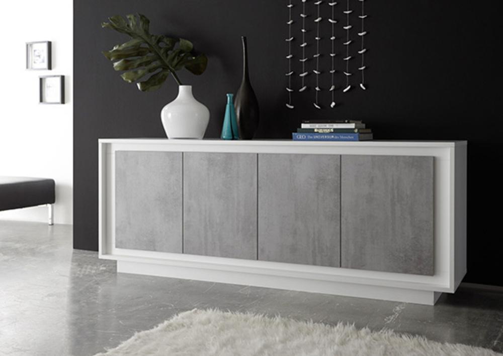 bahut 4 portes sky blanc mat b ton. Black Bedroom Furniture Sets. Home Design Ideas